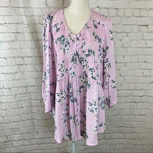 Torrid NWT Pink Floral Smocked Blouse 2X